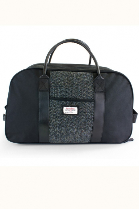 Black and Grey Tartan Harris Tweed Wheelie Holdall