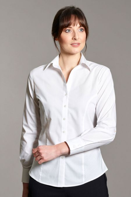 Brianna Long Sleeve Self-Stripe Blouse