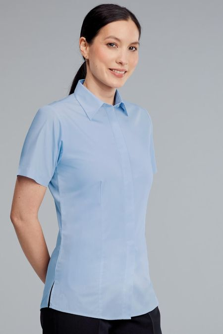 Classic Fly Front Short Sleeve Blouse