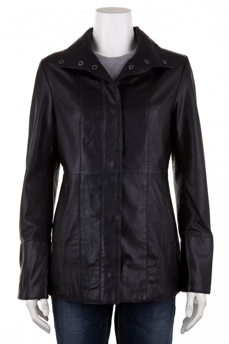Leather Cross Panel Coat