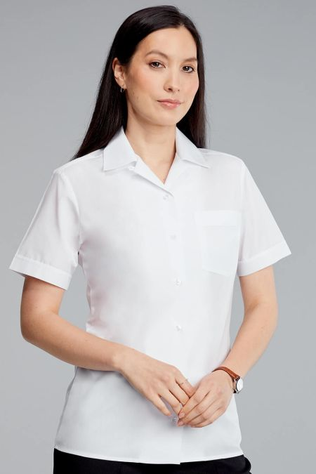 Revere Collar Short Sleeve Blouse