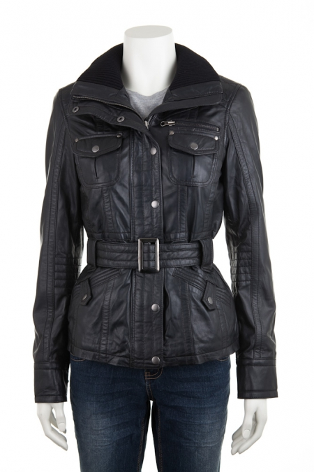 Short Belted Leather Jacket