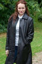 Ladies Long Line Leather Overcoat