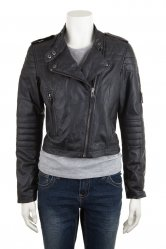 Leather Cross Zip Biker Jacket